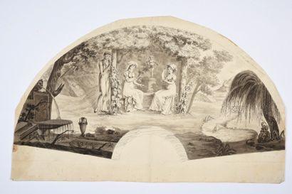 Promesse de galant, vers 1830 Feuille d'éventail...