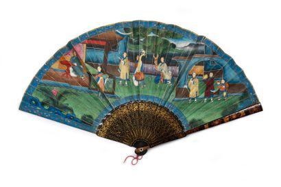 La musicienne, Chine, vers 1820 Éventail...