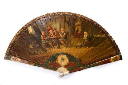 Les joueurs de cartes, vers 1890-1900 Éventail...