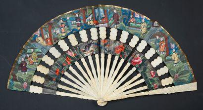 Cabriolet, Chine, XIXe siècle Éventail plié,...