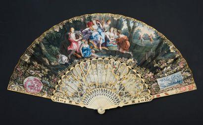 Diane et ses nymphes, vers 1760 Éventail...
