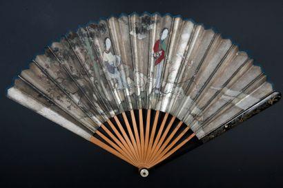 Deux courtisanes, Chine, XIXe siècle Éventail plié, feuille double en papier argenté...