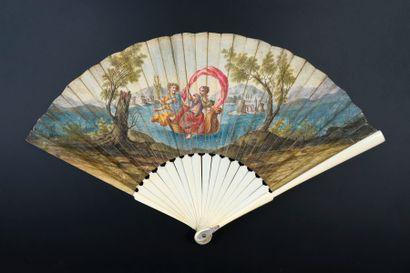Le voyage, vers 1700-1720 Éventail plié,...