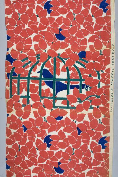 Toile imprimée, dessin de Francis Jourdain, manufacture Cornille, vers 1925, impression...