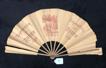 EXPOSITION de ROUEN 1896 - Rare, grand éventail...