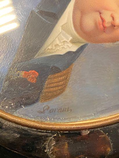 ATTRIBUÉ À OLIVIER ISAAC (1565-1617). Portrait de profil d'un gentilhomme en armure....