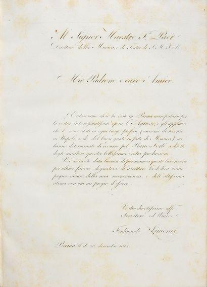 PAËR Ferdinand. Agnès, opéra sentimental en deux actes, musique de Ferdinand Paër,...