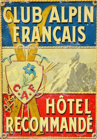 Tôle peinte embossée du Club Alpin Français...