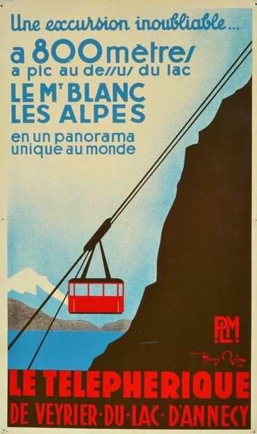 Tôle serigraphiée. «Le Téléphérique de Veyrier»...