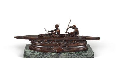 Sculpture en bronze sur socle marbre. «Le...
