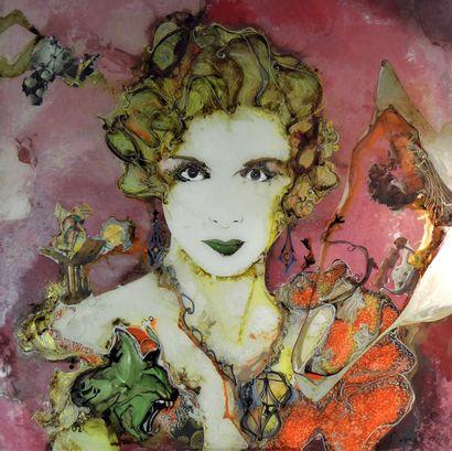 David ROLLAND (né en 1976) 1930 Second Souffle. Fixé sous verre. 130 x 130 cm.