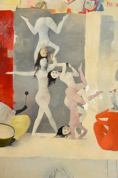 Ecole des ANNEES 1950/60 The acrobats. Oil on isorel (accidents), signed and dated...