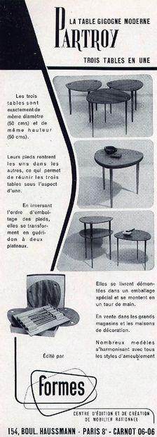 Pierre CRUEGE(1913 - 2003) Suite de trois tables gigogne empilables, modèle Partroy,...