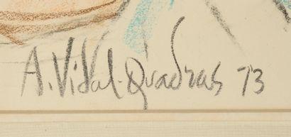 Alejo VIDAL-QUADRAS (1919 - 1994) Portrait de famille. Pierre noire et pastel. Signé...