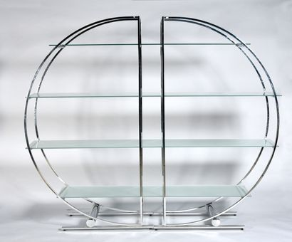 Shelf with tubular structure in chromed metal...