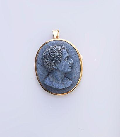Pendentif/broche en pierre de lave bleu gris...