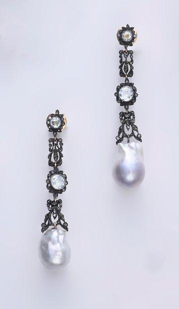 Paire de pendants d'oreille en argent 925e...