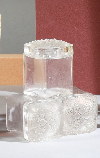 COTY - (années 1920) Three colourless glass pressed solid brilliance bottles of cubic...