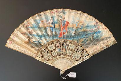 Ruth et Boaz, vers 1740-1750  Éventail plié,...