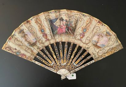 Les galants musiciens, vers 1780  Éventail...