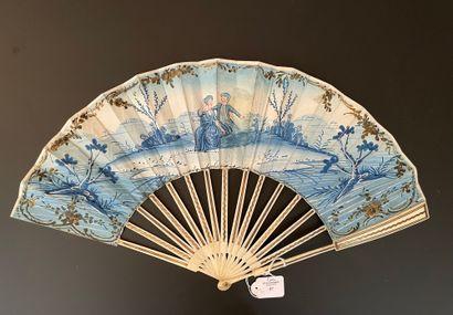 Camaïeu de bleu, vers 1780  Éventail plié,...