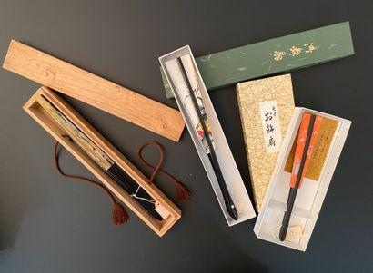 Trois éventails, Japon, XXe siècle Les feuilles...
