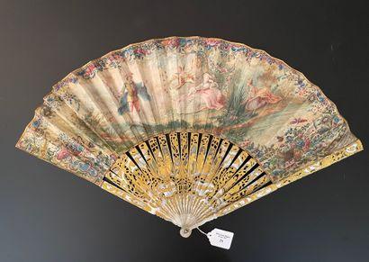 Le rêve, vers 1750  Éventail plié, la feuille...
