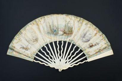 Le galant pêcheur, vers 1780  Éventail plié,...