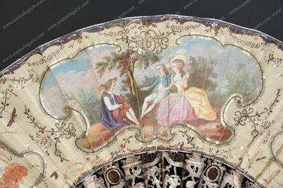 LE JOUEUR DE VIELLE, VERS 1780.  Eventail...