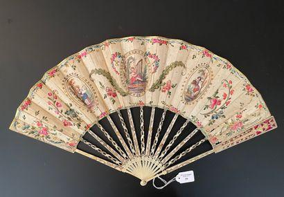 L'amour harpiste, vers 1780  Éventail plié,...