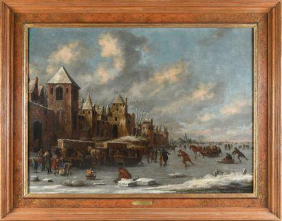 Thomas HEEREMANS (Haarlem vers 1640-1697) Couple de patineurs sur une rivière gelée...