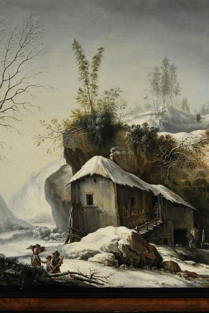 École ITALIENNE du XIXe siècle, suiveur de Pier Francesco FOSCHI Paysage de neige...