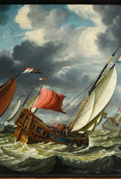 Attribué à Gerrit POMPE (c.1640/1650-c.1695/1705) Navires par gros temps Toile 57...