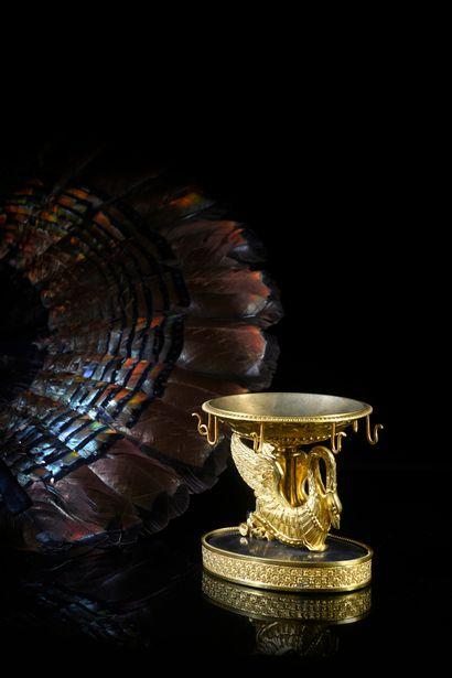 Coupe baguier au cygne Baguier en bronze...