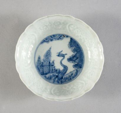 Paire de coupes en porcelaine de Chine à décor bleu et blanc sous couverte, le marli...