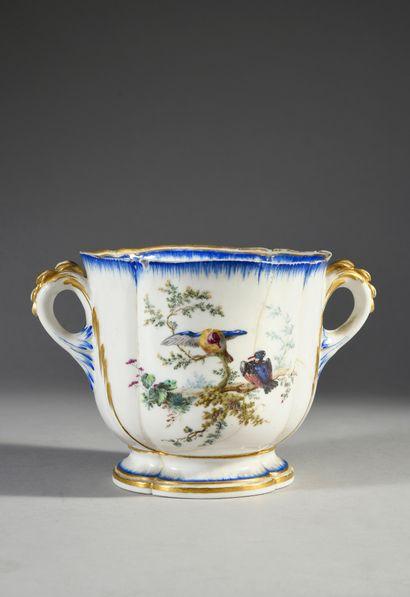 Seau à verre du Roy ou seau du Roy à liqueur en porcelaine de Vincennes du XVIIIe...