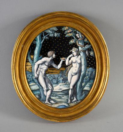 Plaque ovale en émail peint polychrome représentant...