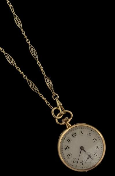 Une montre de gousset en or, de forme ronde,...