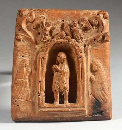 Petite plaque votive en bois sculpté d'une...