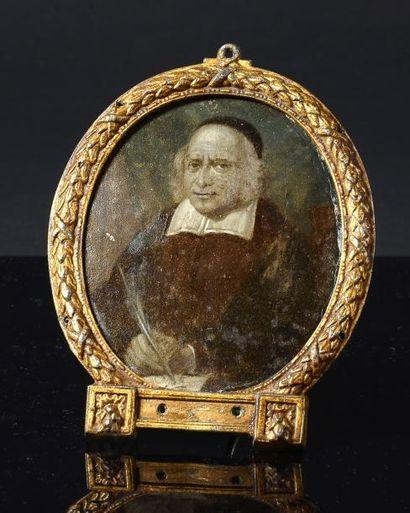 Médaillon ovale représentant un abbé tenant...