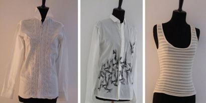 DIOR Chemise by Heidi Slimane en fin coton blanc brodé de motifs géométriques noirs....