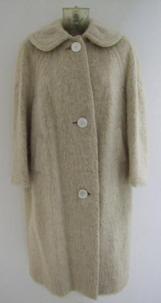 Années 50 Manteau en laine méchée blanc cassé,...