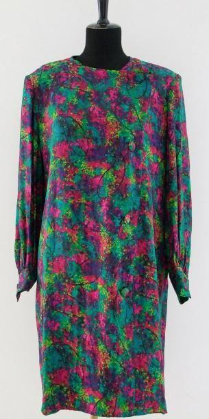 GIVENCHY Nouvelle Boutique Robe soie jacquard, multicolore, impression florale fondue...