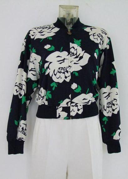 MOSCHINO Jeans Blouson 100% coton imprimé marine à motifs blancs et verts. Le col...