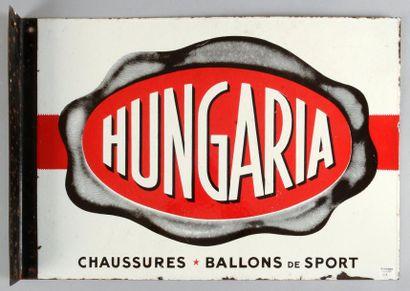 Plaque émaillée Hungaria. Publicité recto-verso,...