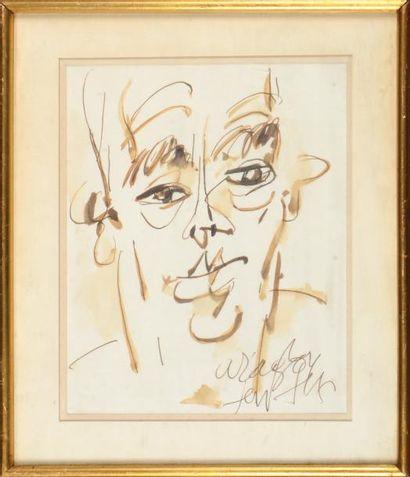 GEN PAUL (1895-1975) Portrait d'Aragon Dessin à l'encre et au lavis signé et titré...
