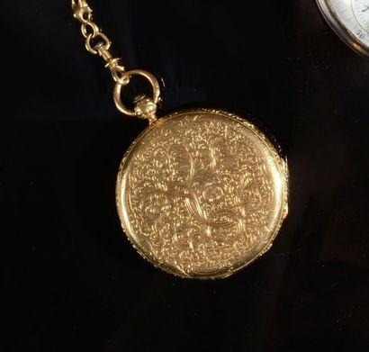Une montre de gousset en or jaune (18K, 750?),...