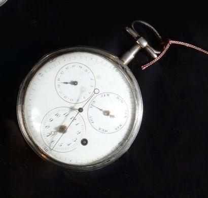 Une montre de gousset en argent, cadran émaillé...