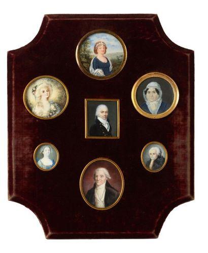Collection de 7 miniatures sur ivoire, dont...