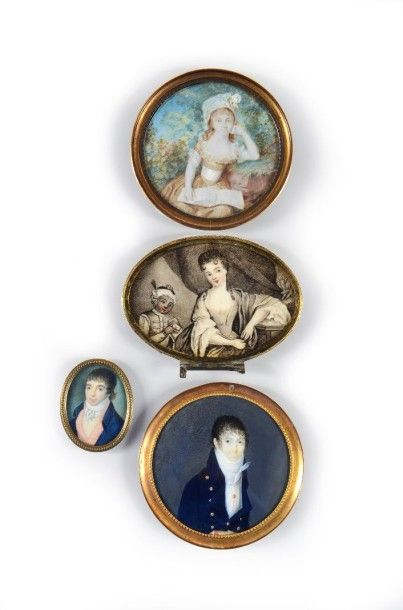 Quatre portraits miniature sur ivoire du...